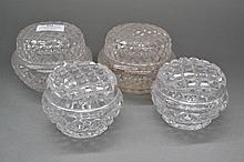 Four crystal dressing table pots (4)