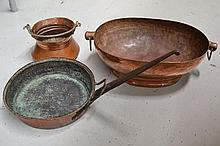 Three Antique copper pots (3)