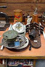 Assortment of trays, coffee grinder, dishes and a