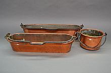 Two French antique copper fish kettles and a swing