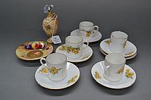 Five miniature coffee cups with saucers [Leh
