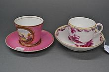 Two Antique cup and saucers with puce romantic
