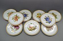 Set of nine Hutshenreuther fruit plates with gilt