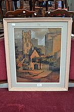Mixed media St. Phillips Church. Signed