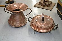 French copper food server & twin handle urn (2)