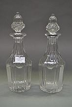 Pair of antique cut crystal decanters, approx 33cm