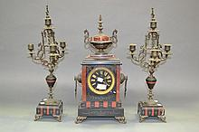 French marble mantle clock and garnitures, no key