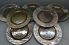 Seven glass Tree of Life under plates/platters,