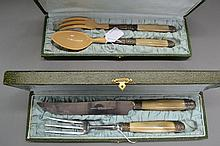 Boxed French horn handle carving knife and fork