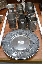 Collection of old pewter pieces including European