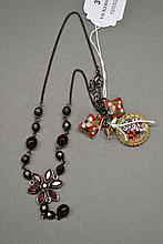 Mosaic brooch, enamel earrings, garnet style