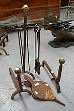 Pair of antique andirons, fire tools and bellows
