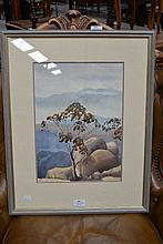 Watercolour 'From Mt. Buffalo' - signed