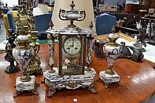 Antique French marble and bronze clock and urns