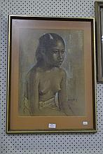 Vintage framed pastel of a young Bali girl, signed