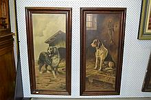 Pair of French school paintings, Hounds, oil on