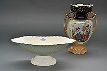 Porcelain vase and a porcelain comport (2)