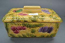 Sarreguemines Majolica cookie jar box / fruit