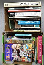 Two boxes of books on Antiques
