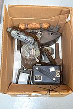 Box lot of items to include an iron, camera etc