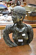 African carved green stone bust of a female, head
