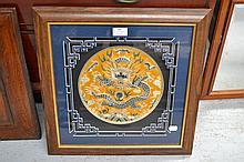 Framed Chinese silk embroidery of a dragon, approx