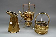 French copper spirit kettle, ewer & handled pot