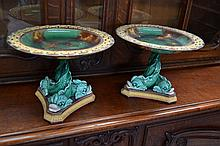 A rare pair of antique Wedgwood majolica triple