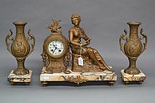 Antique French Mantle clock & garnitures with