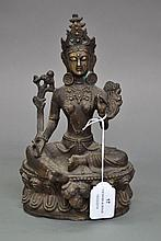 Cast bronze figure of a seated Buddha, approx 23