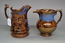 Two antique copper lustre jugs, approx 17cm H and