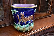 Antique English Majolica jardiniere decorated with