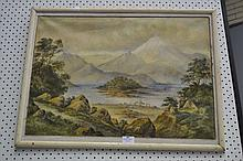 Framed watercolour by Y Brees, N.Z school, approx