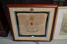 Framed WWI Memorial crest on fabric of the