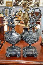 Pair of Antique classical spelter urns, approx
