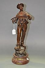 Antique French bronzed spelter figure titled