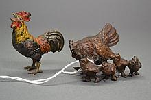 Cold painted bronze rooster along with a bronze