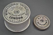 Tooth paste powder/paste pot and eye ointment lid