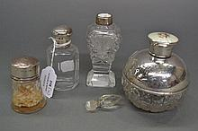 Four varied crystal and Silver perfume jars (4)