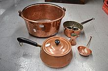 Antique French copper items to include preserving