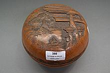 Cherrywood Japanese turned and carved lidded bowl,