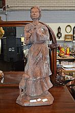 Large French carved wood figure of a girl and