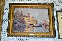Oil on canvas Venice boat scene, signed bottom
