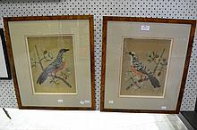 Pair of antique bird feather pictures of birds (2)