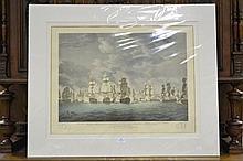 Antique coloured engraving, Naval Battle,