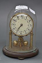 Small glass domed covered clock, approx 16cm H