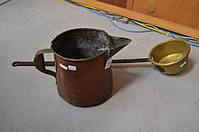 Antique French copper jug & ladle (2)