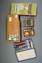 Assortment of vintage pencils, dominos and