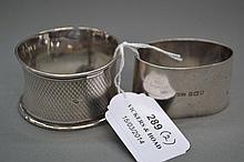 Two sterling napkin rings (2)