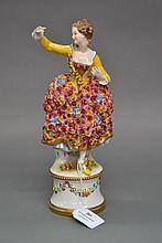 Italian figure of a lady in a floral dress, approx